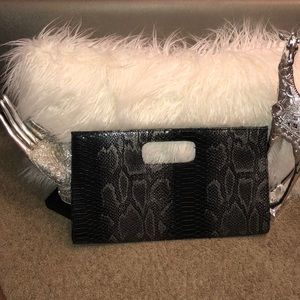 Handbags - Genuine Faux Leather Black and Silver Purse